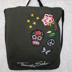 Thomas Sabo Green Canvas Tote Embroidered Design